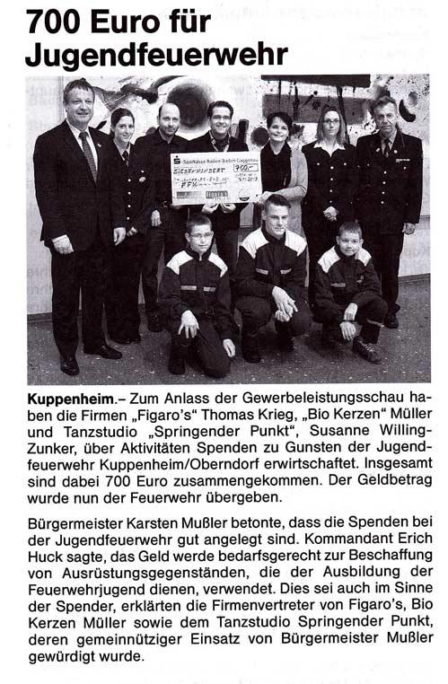 Figaros Friseur Kuppenheim Rastatt Baden-Baden - Jugendfeuerwehr Presse