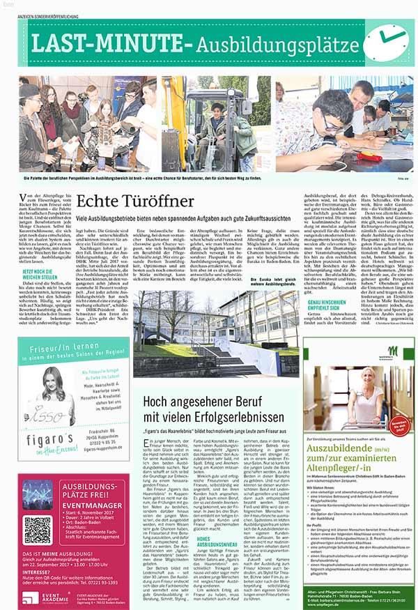 Figaros Friseur Kuppenheim Baden-Baden Rastatt Murgtal - BNN Last Minute Ausbildungsplätze