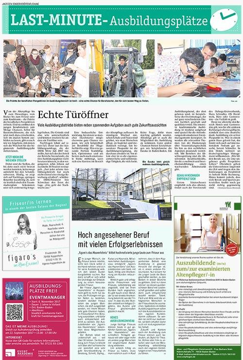 Figaros Friseur - Kuppenheim Rastatt Baden-Baden Murgtal - BNN-Sonderveröffentlichung Last-Minute Ausbildungsplätze