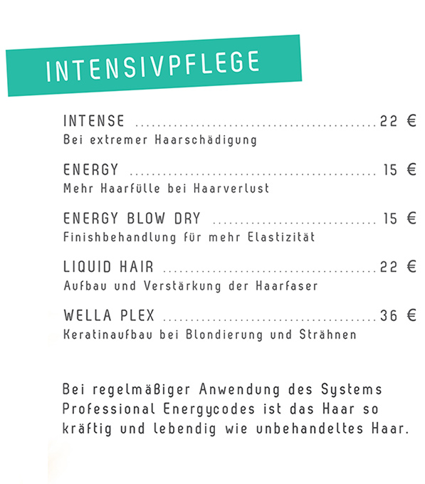 Figaros Friseur Kuppenheim Rastatt Baden-Baden - System Professional Intensivpflege