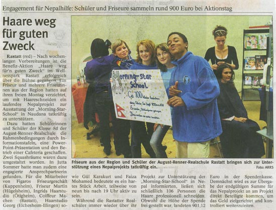 Figaros Friseur Kuppenheim Rastatt Baden-Baden - Nepalhilfe